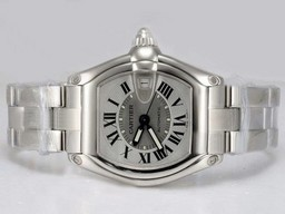 Fake Cartier Roadster Gorgeous con esfera blanca Relojes AAA [ X6N1 ]