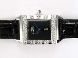 Fake Cartier Pasha Modern Must de Diamond Bisel Con Negro Dial Relojes AAA [ T4A7 ]