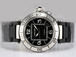 Fake Cartier Pasha Modern Seatimer con Dial Negro Relojes AAA [ L7S6 ]