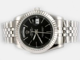 Fake Perfect Rolex Day-Date Automático Con Negro Dial - Stick Marcado Relojes AAA [ S7F6 ]