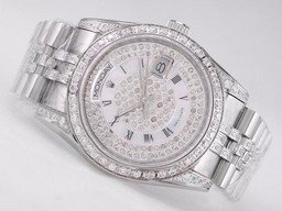 Fake Perfect Day-Date Rolex Movimiento Diamond Bisel Y Dial- romana Marca Relojes AAA [ E7L6 ]
