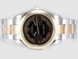 Fake excelencia Rolex Aire Rey Oyster Perpetual automático completo de oro con Negro Dial Relojes AAA [ R1C9 ]