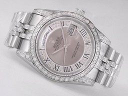 Fake excelencia Day-Date Rolex Movimiento Diamond Bisel Con Esfera Gris Relojes AAA [ H1J6 ]